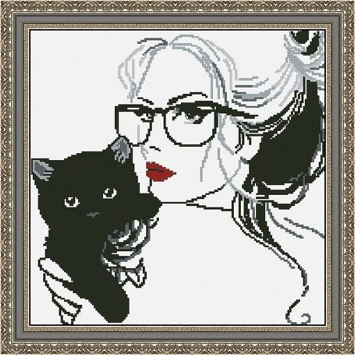 0 point de croix portrait femme lunettes chat - cross stitch portrait girl glasses cat