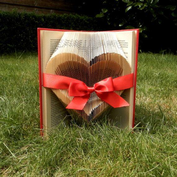 Open Heart - Red Ribbon - Valentine's day - Folded book art - girlfriend gift - anniversary - wedding - handmade - Book Sculpture