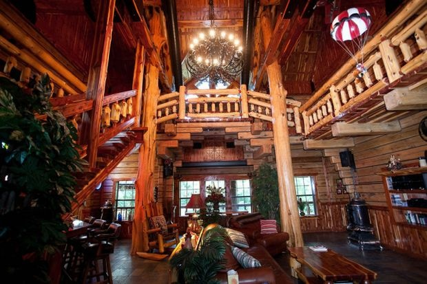 log cabin wedding venues colorado - love the galleried landing in this hall.