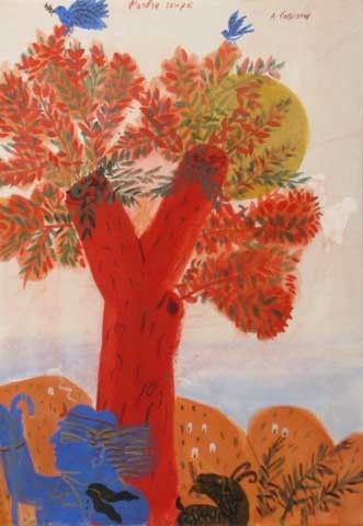 .:. L'arbre rouge ALECOSFASSIANOS Born in athens, in 1935.