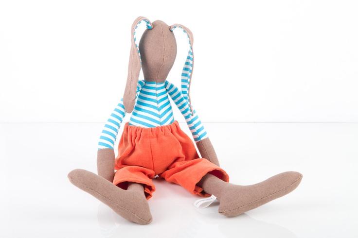 Kinderzimmer Dekor – Gefüllte Hase Hase, braunes Kaninchen tragen gestreiftes türkisfarbenes Hemd und orange Cord – handgemachte Puppe