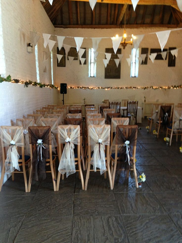 Organza Chair Hoods with Flower and Ribbons in Ivory and Chocolate Brown at Ufton Court