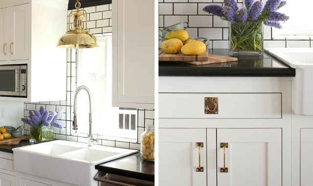 Amy MeierLights Fixtures, Brass Hardware, White Subway Tile, Gold Accent, Subway Tiles, Dark Grout, Kitchens Hardware, White Cabinets, White Kitchens
