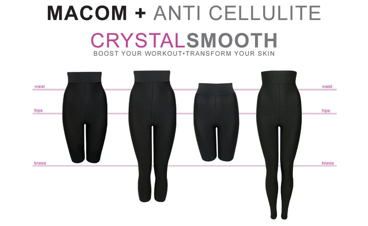 Anti-cellulite favourites all lined up - Have you tried them yet? Crystal Smooth looks just like a normal pair of leggings but has potent cellulite busting ingredients built inside the DNA of the yarn.