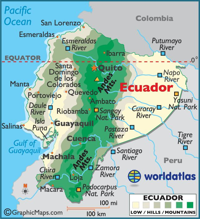 Ecuador large color map