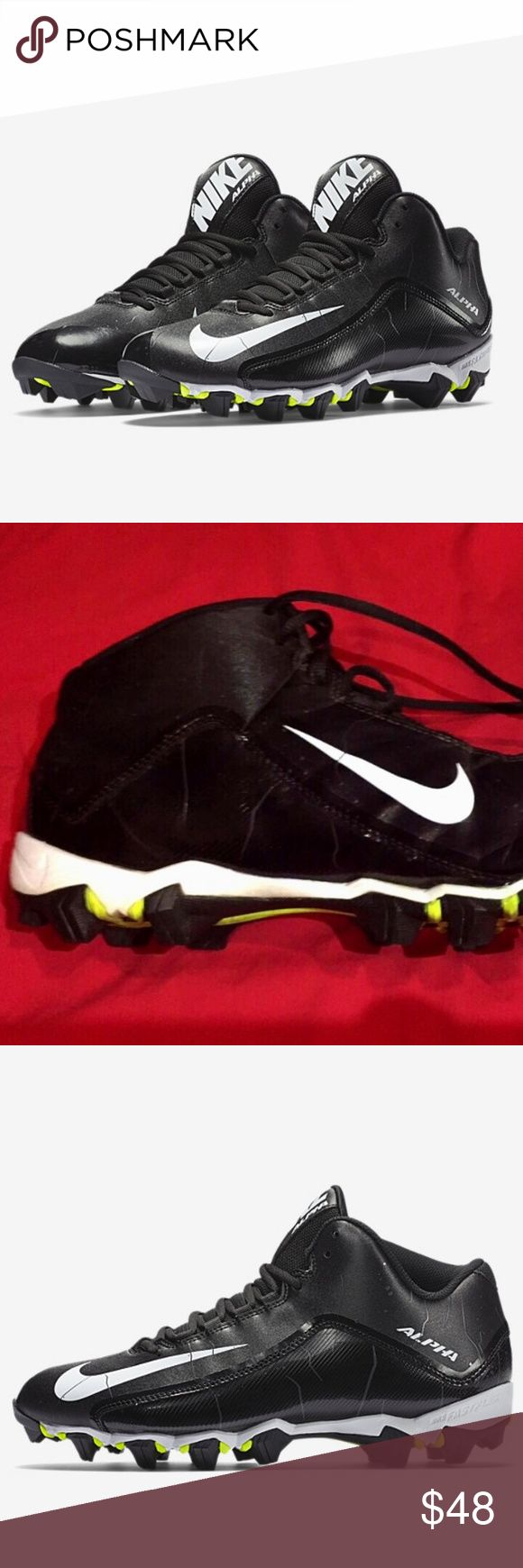 Nike alpha shark men's shoes size  13 The Nike Alpha Shark 2 3/4 Men's Football Cleat features a sleek, lightweight upper and aggressive cleat configuration so you can perform at top speed during practice and play. Lightweight, synthetic leather upper with comfort collar for performance and a great fit  Full-length Phylon midsole for responsive cushioning Aggressive Shark rubber outsole with Nike fast-flex for natural performance and speed Used but refer to pictures for condition Excellent…