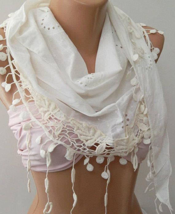 White   Elegance Shawl / Scarf with Lace Edge by womann on Etsy,