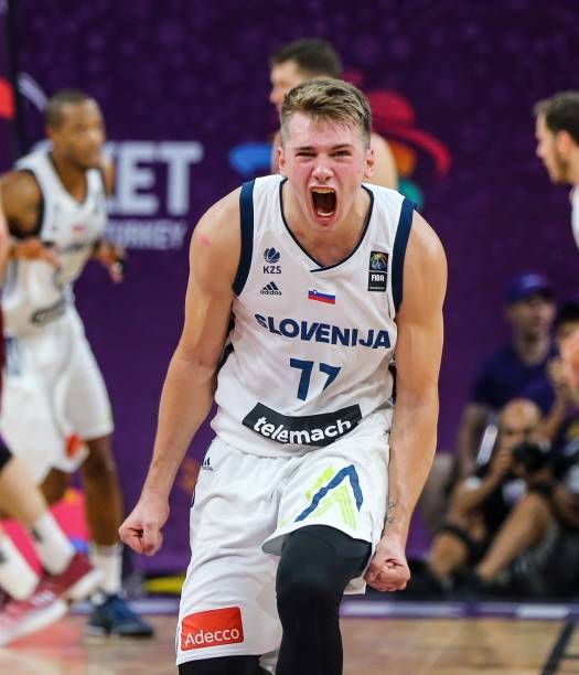 Luka Doncic of Slovenia celebrates after the FIBA Eurobasket 2017 quarter final basketball match between Slovenia and Latvia at the Sinan Erdem Sport...