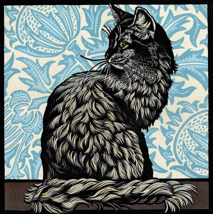 I love the contrast of this black cat against a blue patterned wallpaper - linocut by Jill Kerr