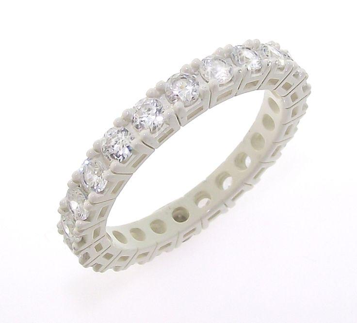 anello bianco con zirconi bianchi