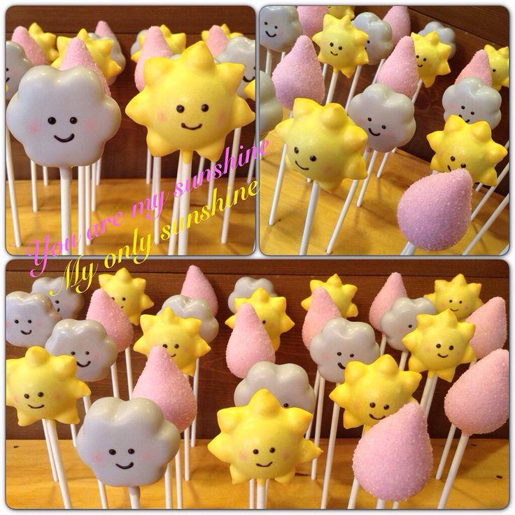 """You are my sunshine"" baby shower themed cake pops by Kim's Sweet Karma https://www.facebook.com/Kimssweetkarma"