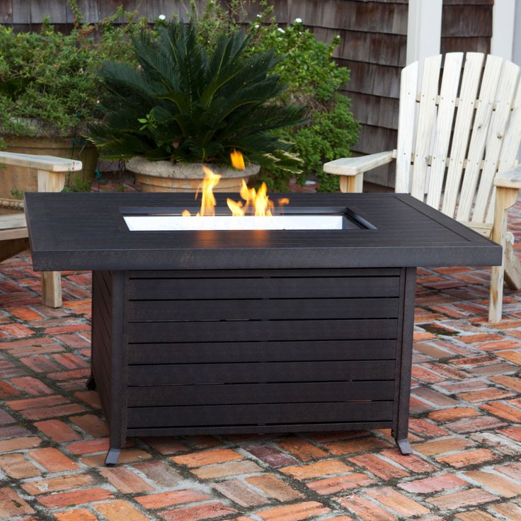 Patio rectangle table firepit modern google search for Buy outdoor fire pit