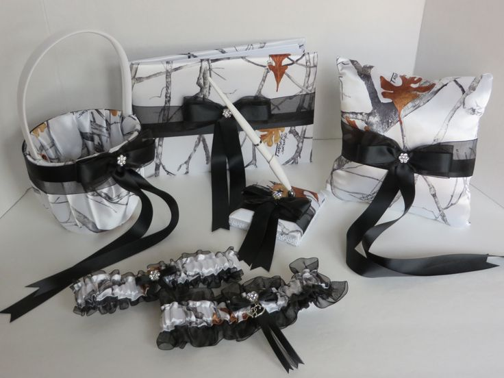 White Camo Guest Book with Black Satin Ribbon Accents, True Timber White Snowfall Camo Wedding Guest Book