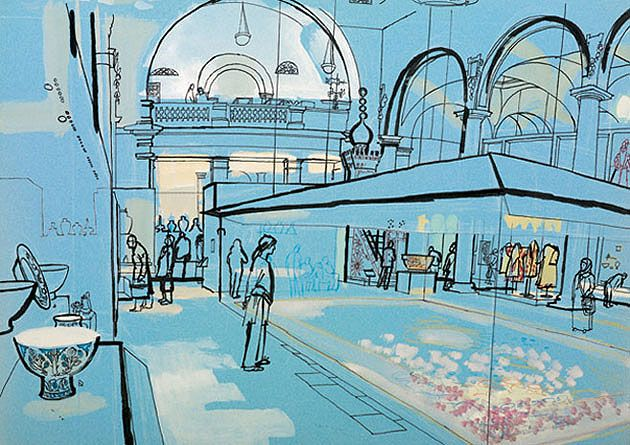 lucinda rogers v&a musem annual review illustration black and white