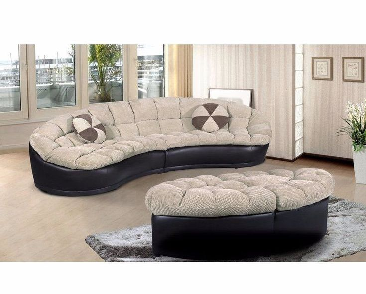 BEST PRICING  FREE SHIPPING  HIGH QUALITY  Curved Sectional Sofa Ottoman Furniture Round Semi-Circle Couch Modern Style 4pc  DETAILS  This button tufted curved sectional sofa set is a stylish and comfortable 4 piece large couch, that will compl...