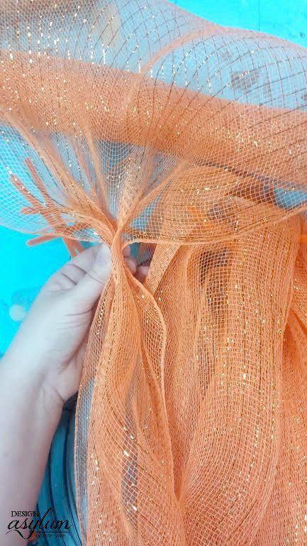 how to make a deco mesh pumpkin wreath, crafts, doors, how to, seasonal holiday decor, wreaths