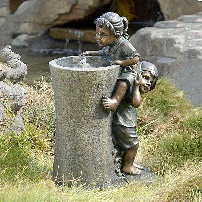 Boosting Children Water Fountain in 2019  planters  Garden statues Garden Art Garden fountains