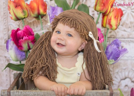 Cabbage Patch Wig by YumbabY, $22.95 #cabbagepatchhat #babygirl #babycostume #yarnwig #crochetbaby #photoprop
