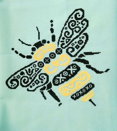 White Willow Stitching Tribal Bumble Bee - Cross Stitch Pattern. Model stitched on 32 Ct. Green Lugana (or fabric of your choice) with DMC floss. Stitch Count: