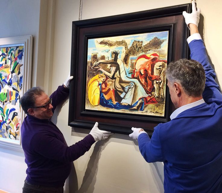 Installing the exceptional 'Le Miel et Le Lait' by André Masson in the Gallery.