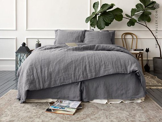 Linen Charcoal Grey Comforter Cover Dusty Grey Doona Cover Etsy Grey Comforter Bedroom Ideas For Couples Grey Bed Linens Luxury