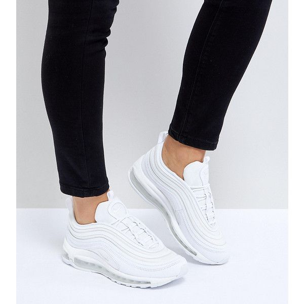 Nike Air Max 97 Ultra '17 Trainers In All White (1.440 DKK) ❤ liked on Polyvore featuring shoes, sneakers, white, white high top shoes, white shoes, white high-top sneakers, nike sneakers and white trainers