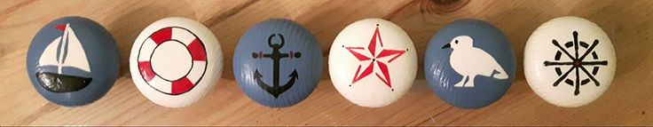 nautical themed hand painted handles for childrens room hand painted with annie sloan colours