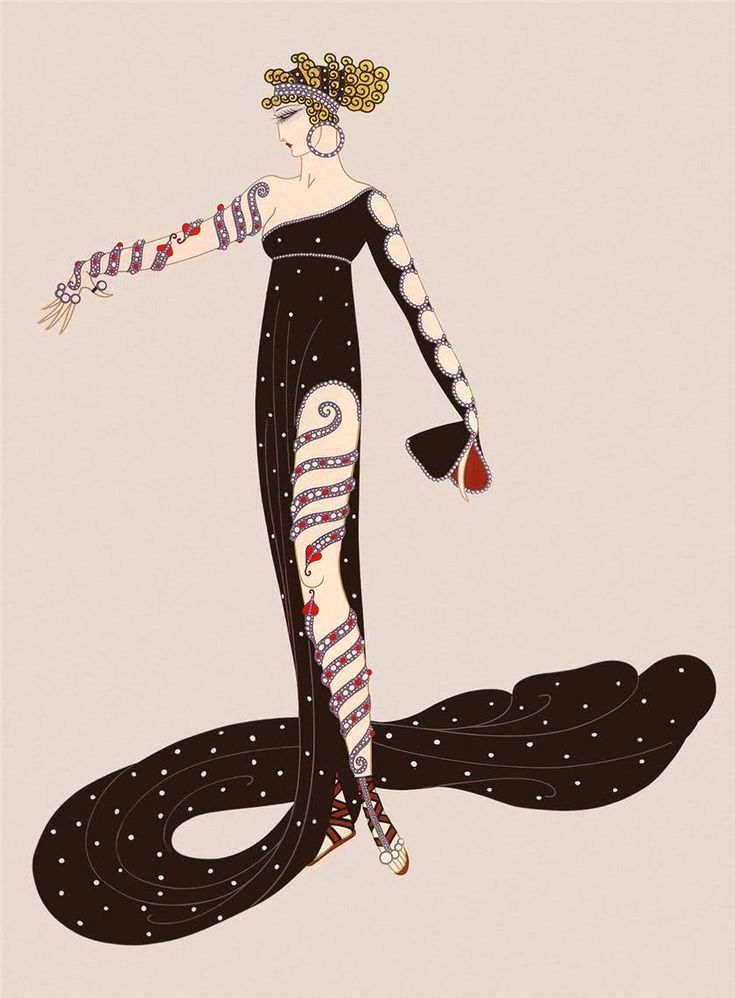 Erte is most famous as a fashion illustrator, but I love his imaginative designs. I wish more of them had been produced as actual clothes.