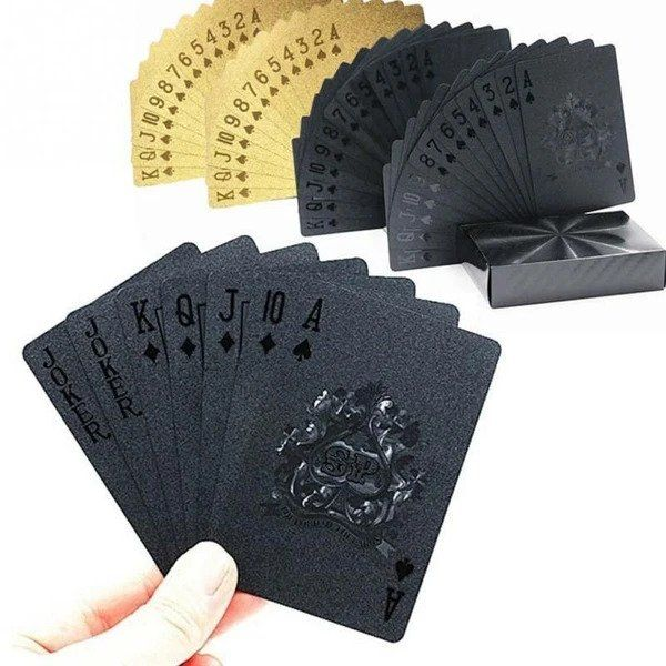 Black Plastic Poker Cards Deck of Cards Waterproof,Plastic Playing Deck of Cards Black Diamond Black Diamond Waterproof Playing Cards
