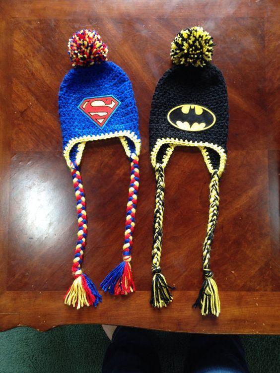 Superman or Batman Crochet Hat several sizes by MorethanSparrows12, $22.00: