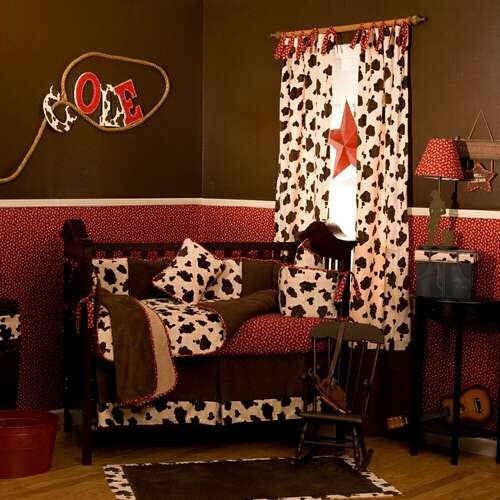 Cowboy nursery minus the cow print curtains baby room for Cow bedroom ideas