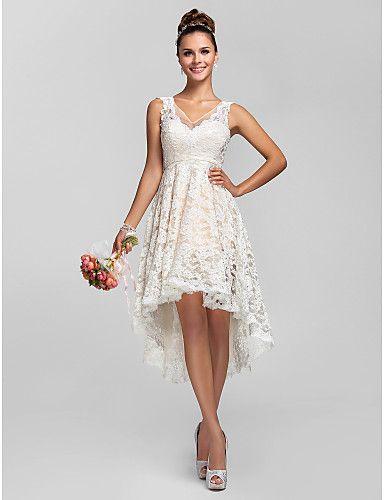 regresso a casa da dama de honra vestido de renda assimétrico uma linha de vestido de princesa v pescoço de 2015 por R$325,72