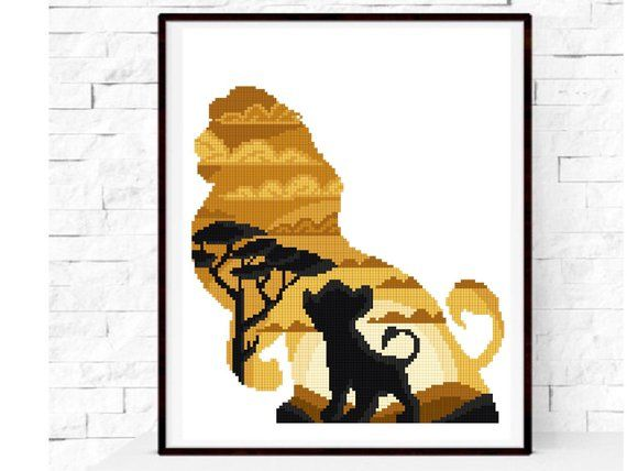 Lion modern cross stitch pattern, easy counted cross stitch chart, King, fan gift, baby nursery decor, DIY, instant pdf