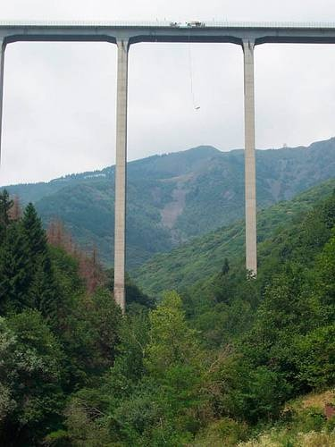 Someday I will bungee jump from this 500-ft tall Colossus Bridge in Italy's Veglio-Mosso (Biella).