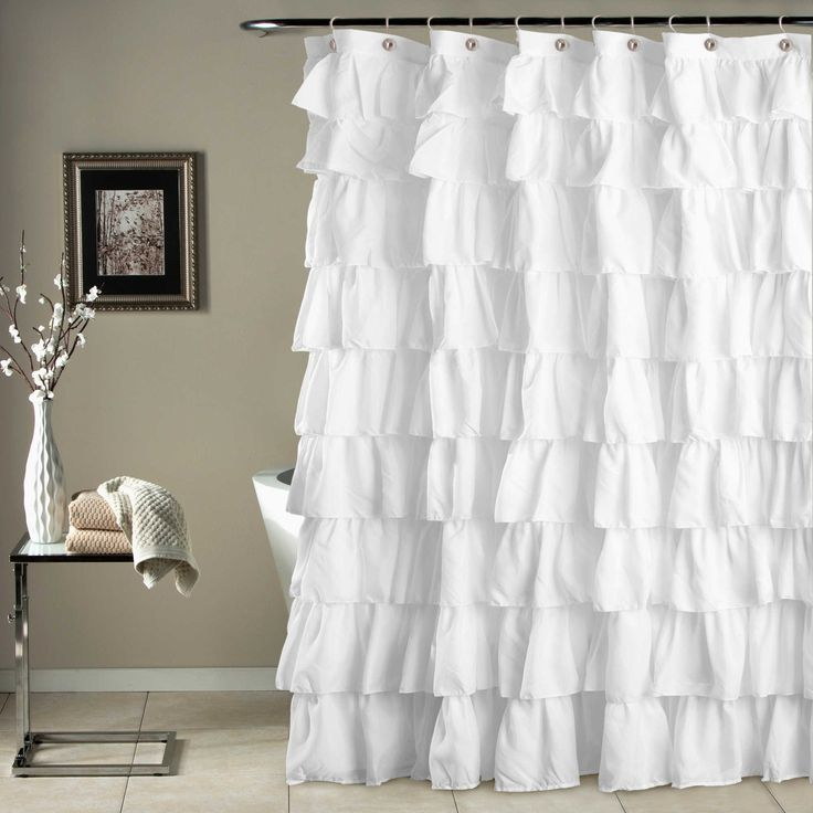 Would be even better in ruffled white lace! Ruffle Shower Curtain in White