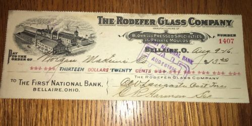 Rodefer-Glass-Mfr-Blown-amp-Pressed-Bank-Check-Bellaire-Ohio-1916-Graphic-Factory