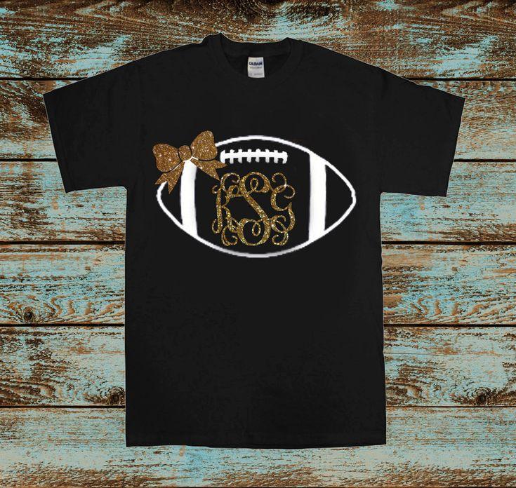 Monogrammed football Glitter Shirt Black and by darlingdoodlebugs