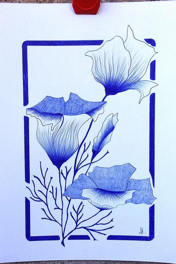 dessin fleur / stylo bille bleu de la boutique Lechapeaudlagamine sur Etsy