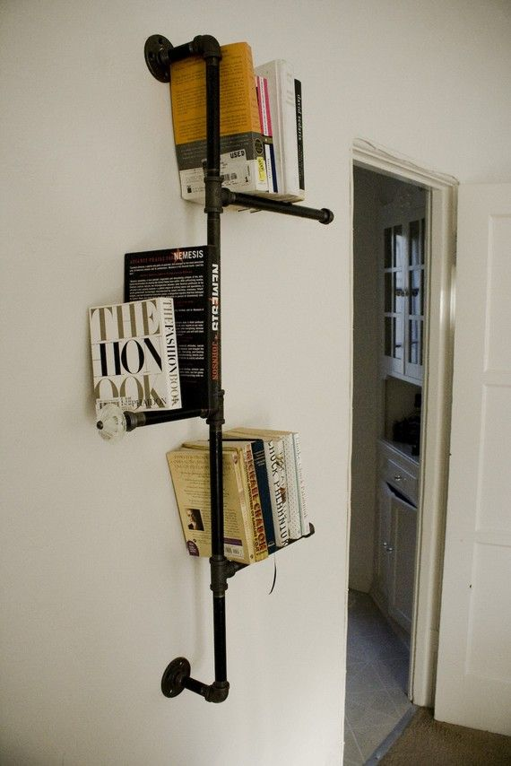 Industrial Pipe Bookshelf with Antique Knob