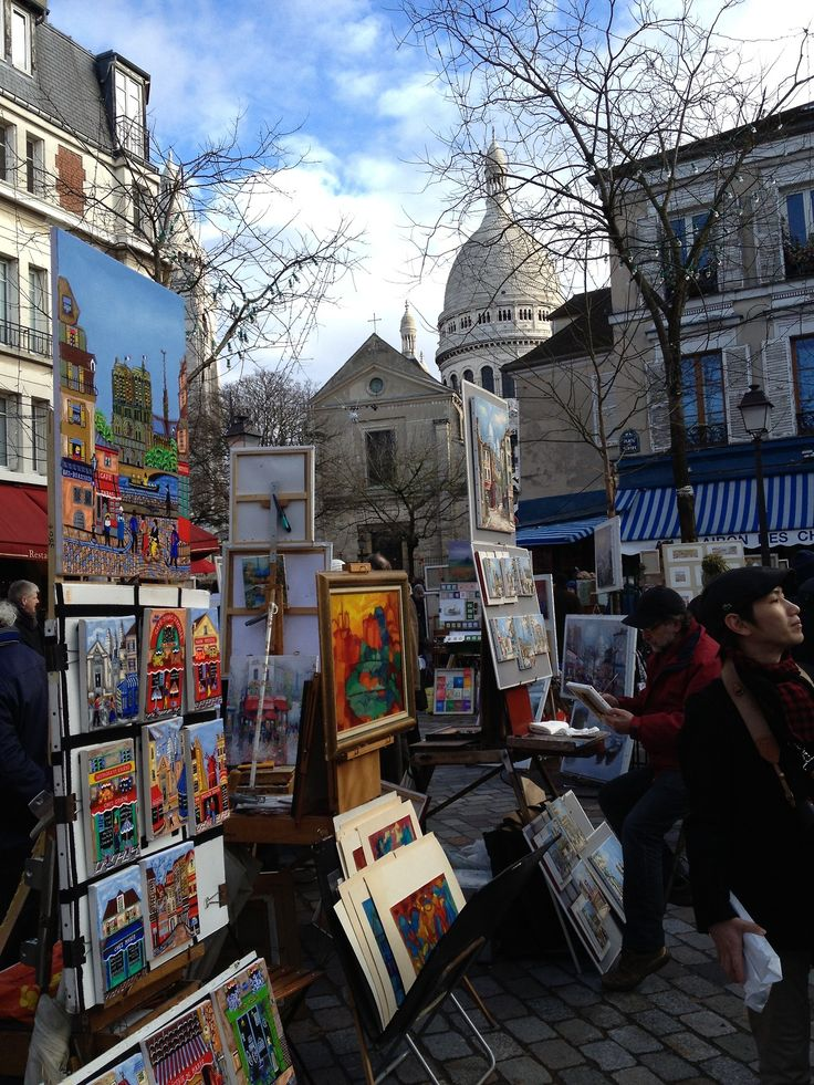 The Place du Tertre is a square in Paris' XVIIIe arrondissement. It is the heart of the city's elevated Montmartre quarter. With its many artists setting up their easels each day for the tourists, the Place du Tertre is a reminder of the time when Montmartre was the mecca of modern art. At the beginning of the 20th century many penniless painters, including Picasso and Utrillo, were living there. (reminds me of Old Montreal).