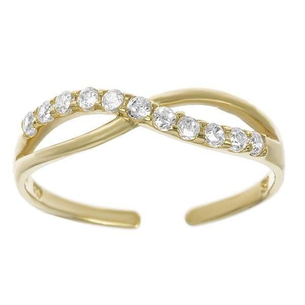 10k Yellow Gold Cubic Zirconium Toe Ring Adjustable Gold Toe Rings Toe Rings Meteorite Jewelry