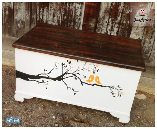 Totally ignore the bird stencil BUT I love this idea to dress up a boring old trunk, add some feet on the bottom and paint the bottom and stain the lid ... LOVE LOVE