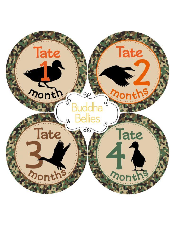 Duck Hunting Baby Month Stickers - Mallard Duck Hunter - Hunting Nursery - Hunter Baby Shower Gift - Monthly Baby Stickers - Hunting Buddy by BuddhaBellies on Etsy https://www.etsy.com/listing/475901419/duck-hunting-baby-month-stickers-mallard