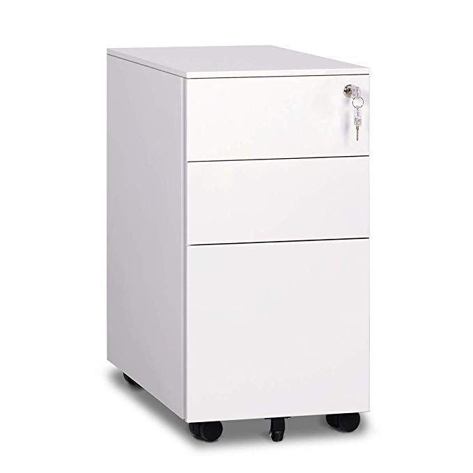 Devaise 3 Drawer Metal File Cabinet With Lock Mini White Fully Assembled Except Casters Review Metal Filing Cabinet Filing Cabinet Drawers