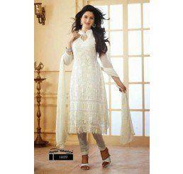 Buy Dinnar Georgette White Semi Stitched Salwar Suit at Socrase.com