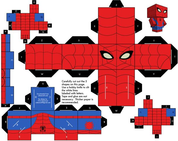 Blog Paper Toy papertoy Spider Man Template preview Amazing Spider Man Papertoy