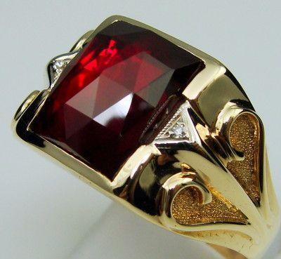 Men Ring Antique Vintage Collectible Deco Estate Ruby Diamond 10K Yellow Gold…