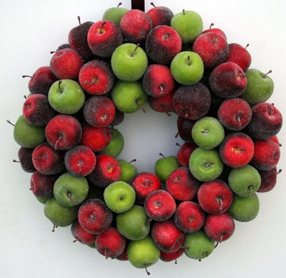 Christmas Wreath Sugared Apple Fruit Wreath by DyJoDesigns on Etsy, $150.00