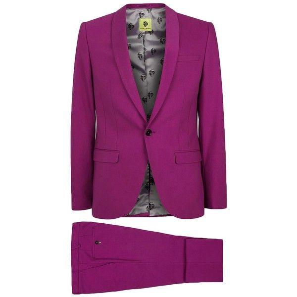 TOPMAN Noose & Monkey Pink Skinny Fit Suit (105 CAD) ❤ liked on Polyvore featuring men's fashion, men's clothing, men's suits, topman mens suits, mens skinny fit suits, pink mens clothing, mens tailored suits and mens skinny suits