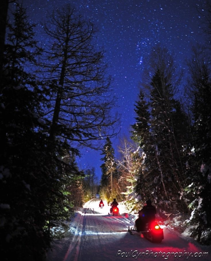 A Starry Snowmobile Ride in Northern Maine.    Paul Cyr Photography:  http://www.crownofmaine.com/paulcyr/olympus-daily-photos/